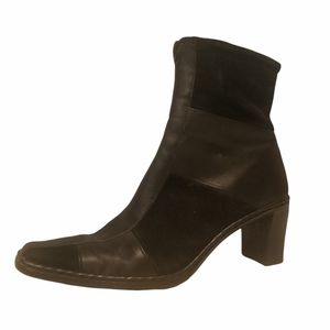 Josef seibel women's black leather and suede square top ankle boots